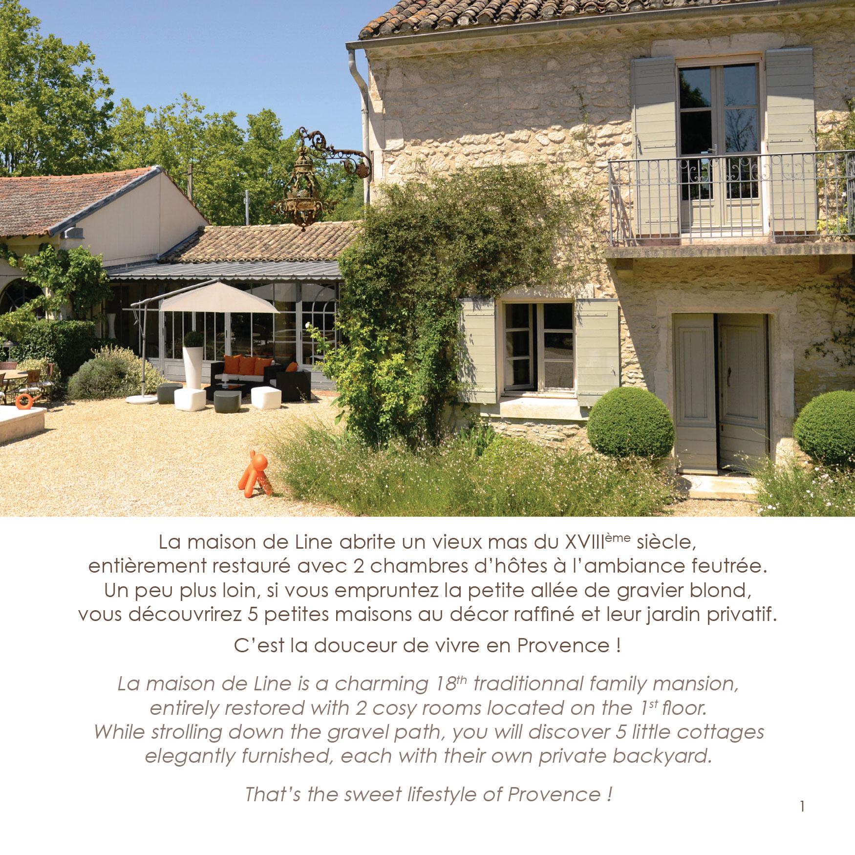 Brochure la maison de line chambres d 39 h tes et g tes de charme saint r my de provence - Chambres d hotes saint remy de provence ...